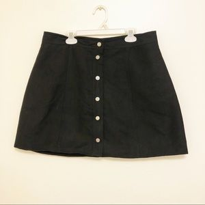 Divided black faux suede button up mini skirt